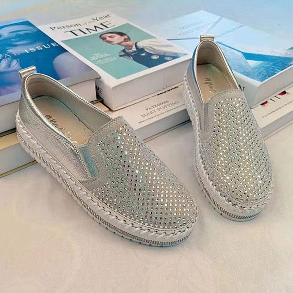 Crystal Leather Slip-on Sneakers by Ameise in silver