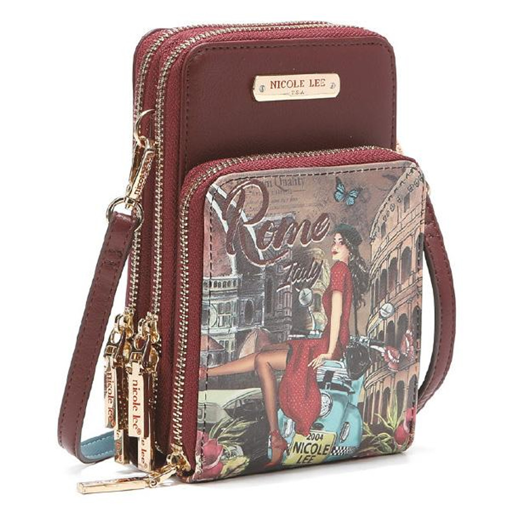 Nicole Lee Cozy Memory of Rome Multi-functional Touch Screen Cell Phone Crossbody by Ameise
