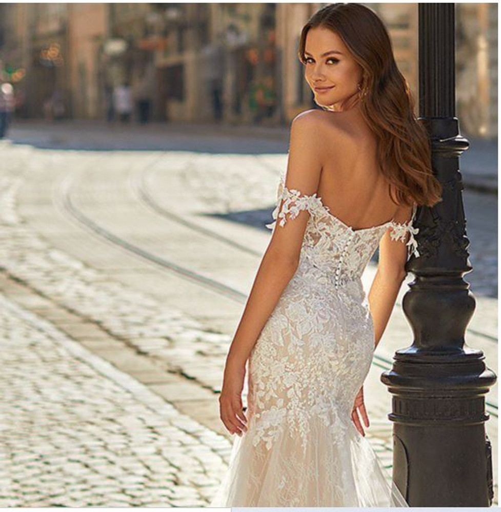 Stella H1483 by Moonlight Bridal Delicate Lace Scalloped Illusion Train Mermaid Wedding Gown   (Pre-Order now)
