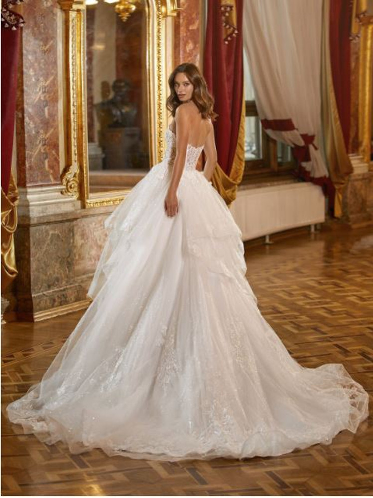 Luxe Strapless Sparkly Full A-Line Bridal Gown with Layered Cascading Skirt Brooklyn H1474 by Moonlight Bridal