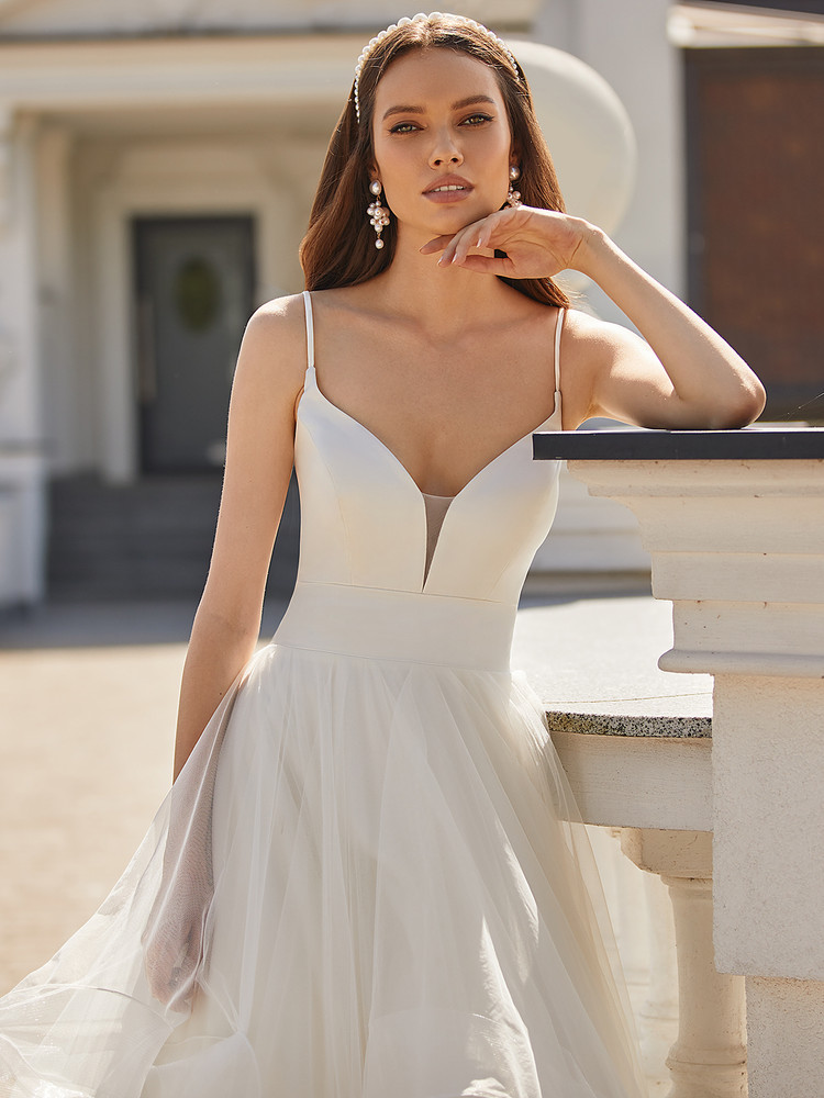 Modern Glam Ball Gown with Simple Satin Bodice and Cascade Skirt Kaylee H1474 by Moonlight Bridal