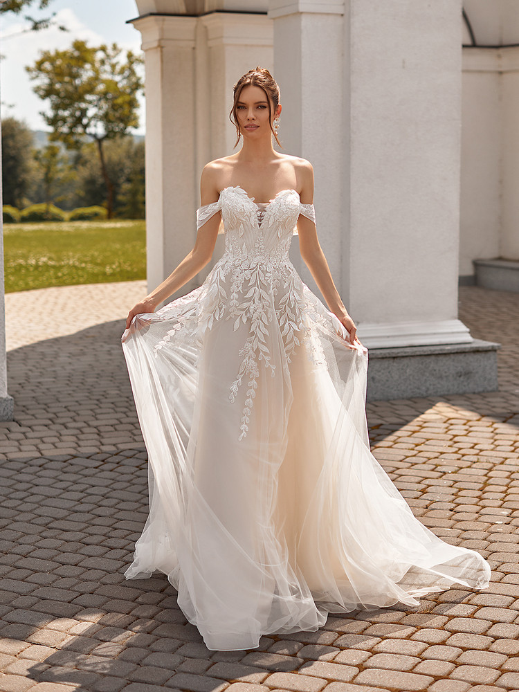 A-Line Gown with Leaf Lace Appliques and Tulle Crisscross Back Andrea J6831 by Moonlight Bridal
