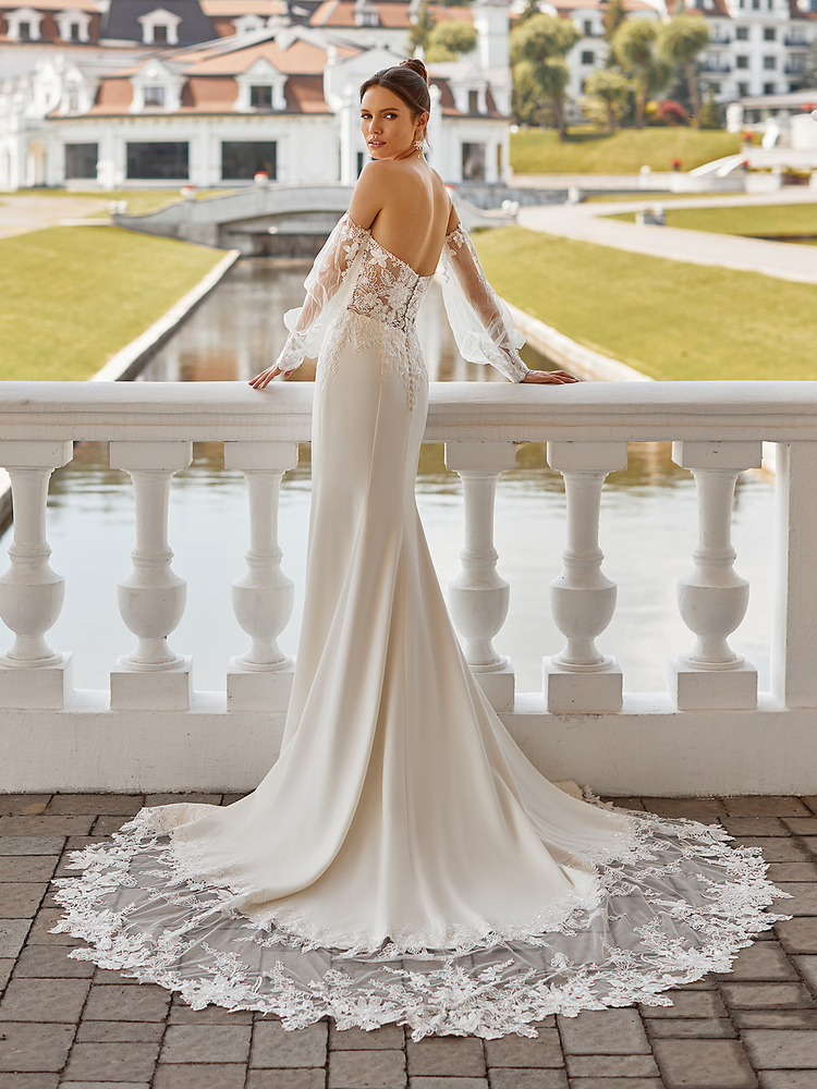 Crepe Mermaid Wedding Dress with Illusion Cutout Chapel Train Zuri J6839 by Moonlight Bridal