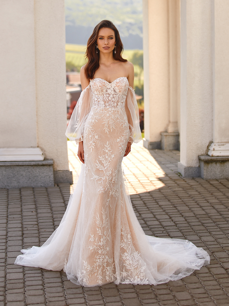 Romantic Mixed Lace Mermaid Gown with Detachable Bishop Sleeves Vera J6841by Moonlight Bridal