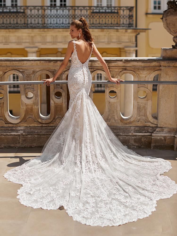 Lace Detachable Sleeve Mermaid Bridal Gown Amari H1491 by Moonlight Bridal