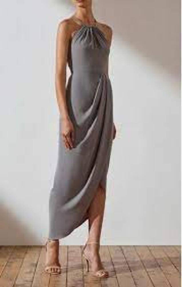 Shona Joy High Neck Ruched Dress - Grey size 6 & 8