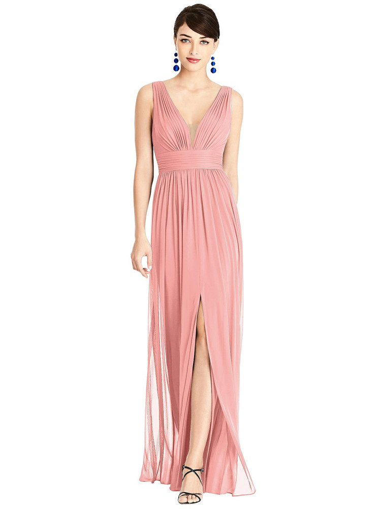 Illusion Plunge Neck Shirred Maxi Dress TH105 By Thread Bridesmaids in 18 colors