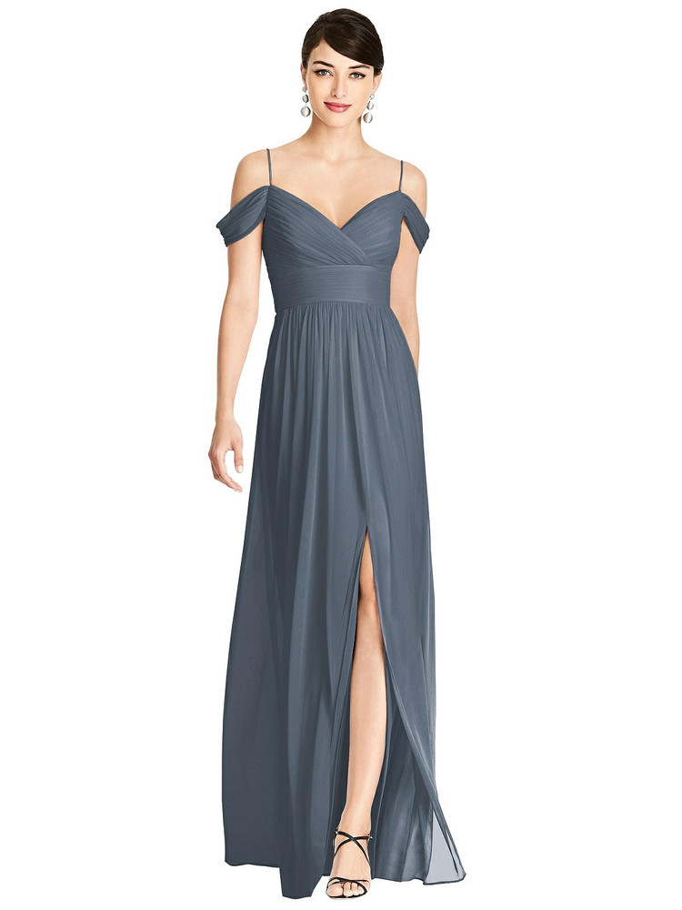 Pleated Off-the-Shoulder Crossover Bodice Maxi Dress TH102 By Thread Bridesmaids in 18 colors