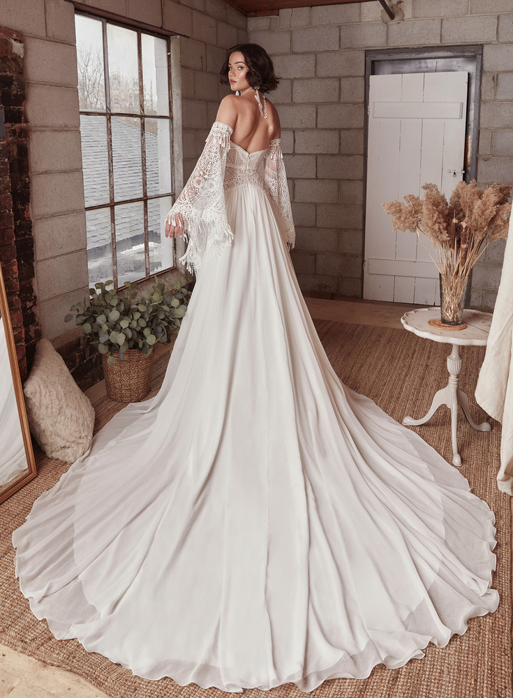 Amethyst Lace/Chiffon A Line Long Sleeve Wedding Dress LP2126  from La Perle by Calla Blanche Bridal  ( Pre-order now )
