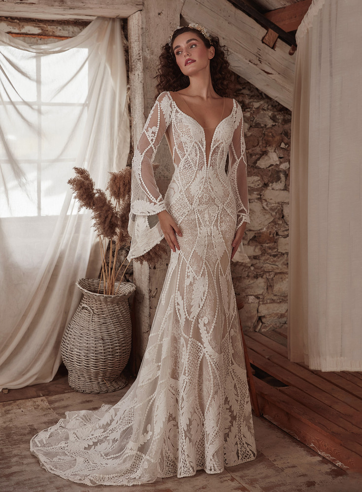 Astrid Lace Sheath Boho Wedding Gown LP2135  from La Perle by Calla Blanche Bridal (pre-order now)