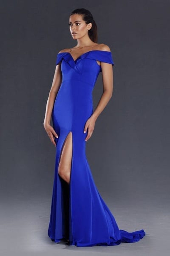 JX003 By Jadore Evening Dress off the shoulder floor length in Emerald in size 6, 8