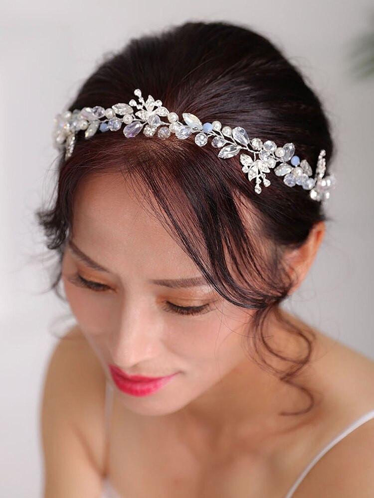 Silver Pearl and Crystal Headdress Handmade Hair band (MITIARA13)