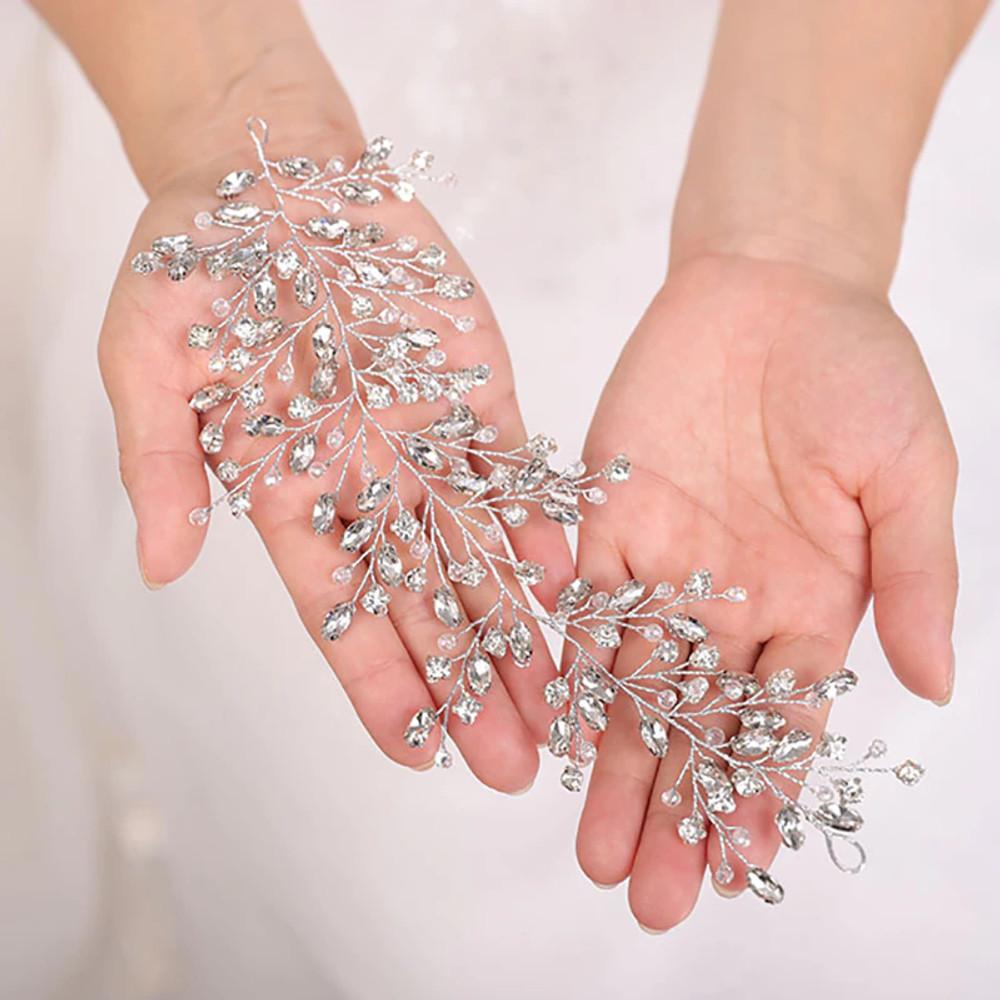 Handmade Silver Flower Rhinestone Wedding Headband (MITIARA16)