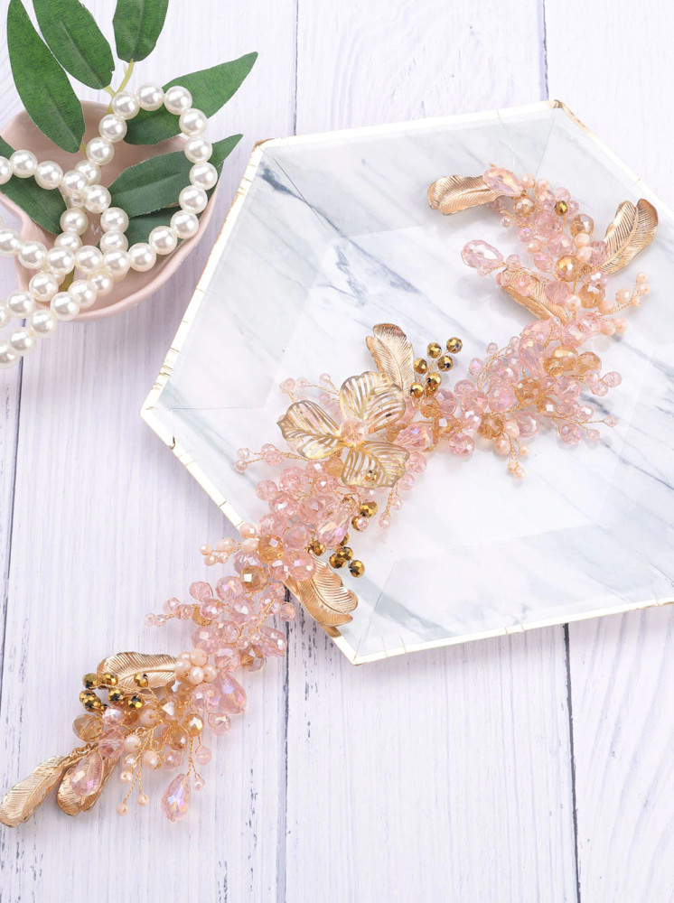 Cindy Bridal Rose Gold Leaf Headpiece