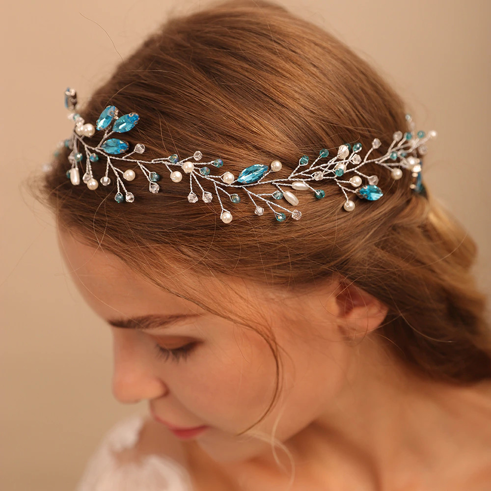 Romantic Blue Rhinestone Long Bridal Hair Vine (MITIARA19)