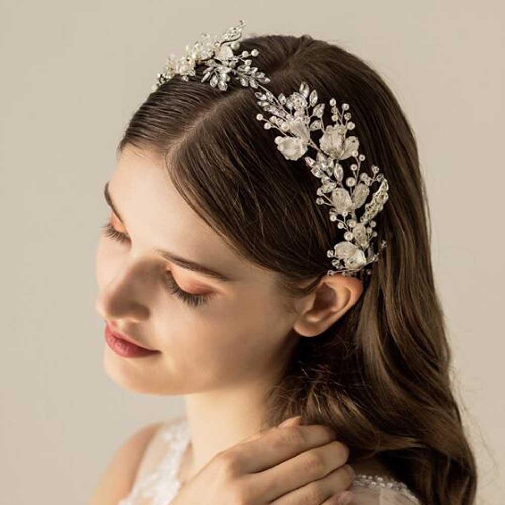 Silver Leaf Rhinestones Bridal Hair Ribbon (MITIARA21)