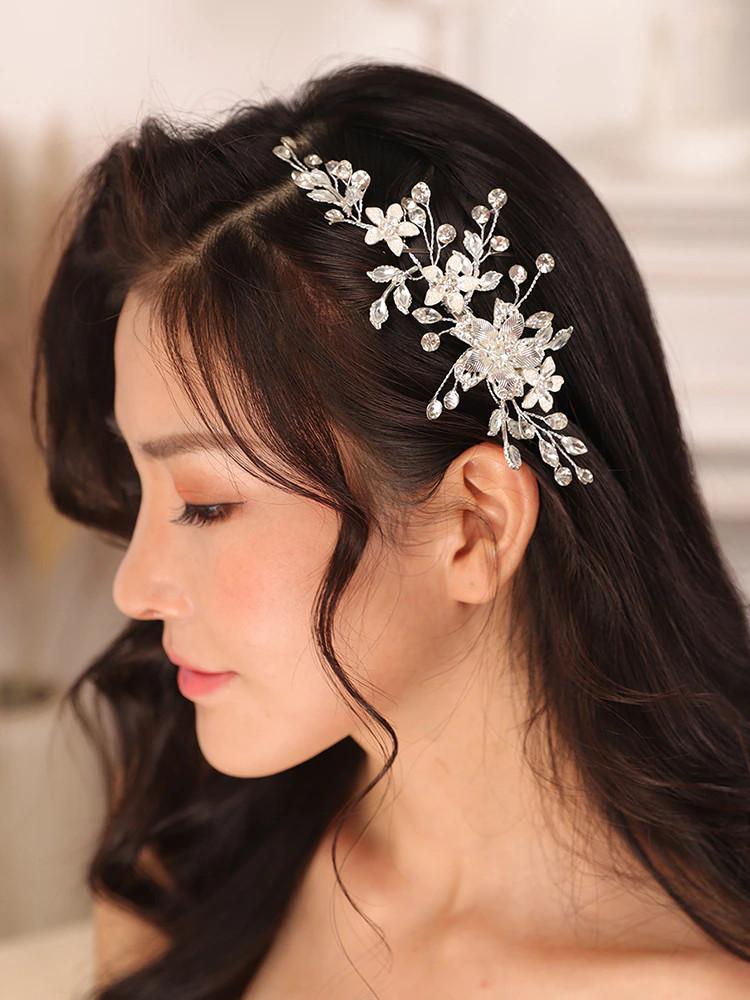Silver Floral and Crystal Bridal Hair Pin ( MITIARA27)