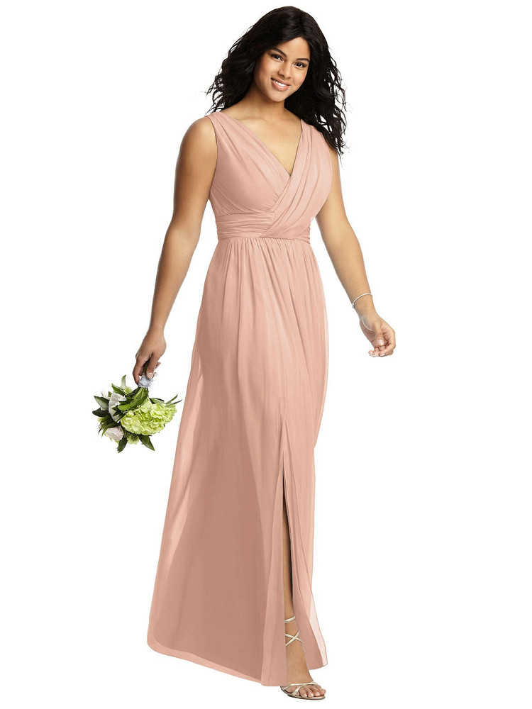 Sleeveless Draped Chiffon Maxi Dress with Front Slit by Dessy Bridesmaids 2894 in 63 colors