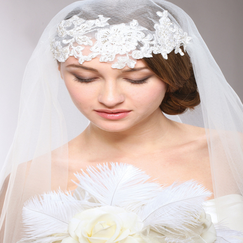 Renaissance Beaded Applique Juliet Wedding Veil