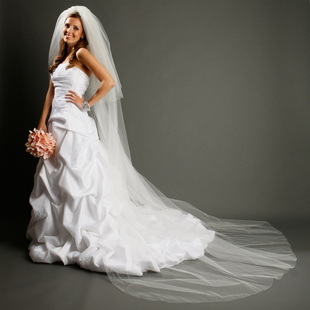 Two Layer Dramatic Cathedral Length Cut Edge Wedding Veil