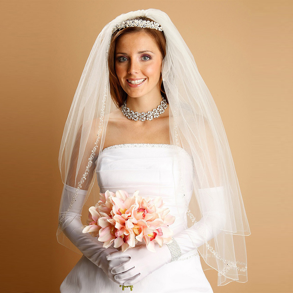 Bridal Veil with Pearls, Swarovski Crystals, Seeds & Threaded Chain