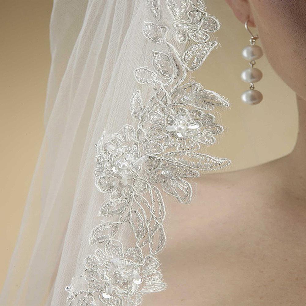 Alencon Lace Embroidered Mantilla Wedding Veil