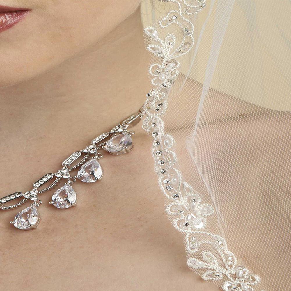 Rhinestone Edge Mantilla Wedding Veil with Floral Appliquè