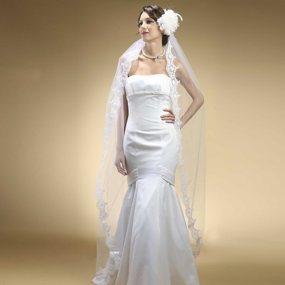 Floor Length Wedding Mantilla Veil with Lace