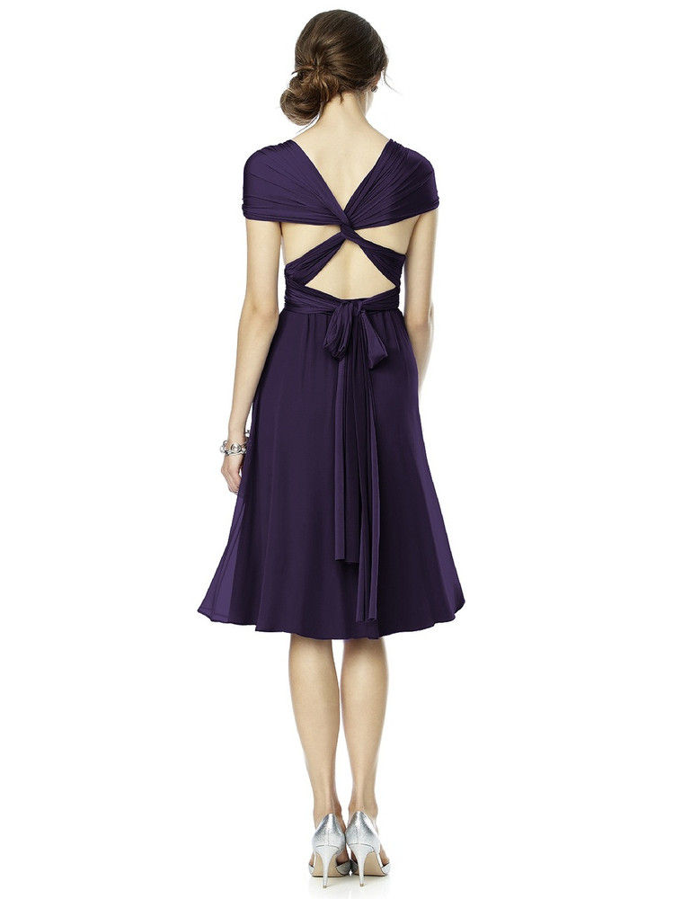 Twist Wrap Dress w/ Chiffon Overskirt Short By Dessy