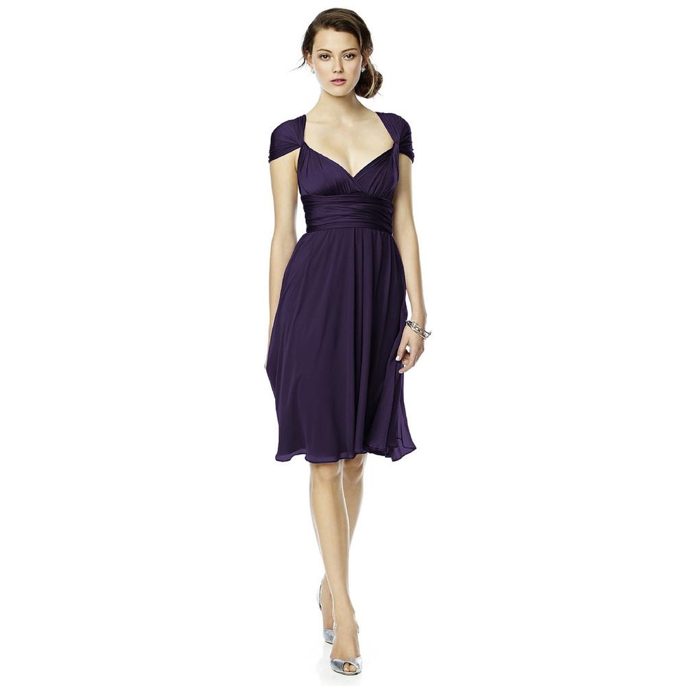 Twist Wrap Dress w/ Chiffon Overskirt Long By Dessy