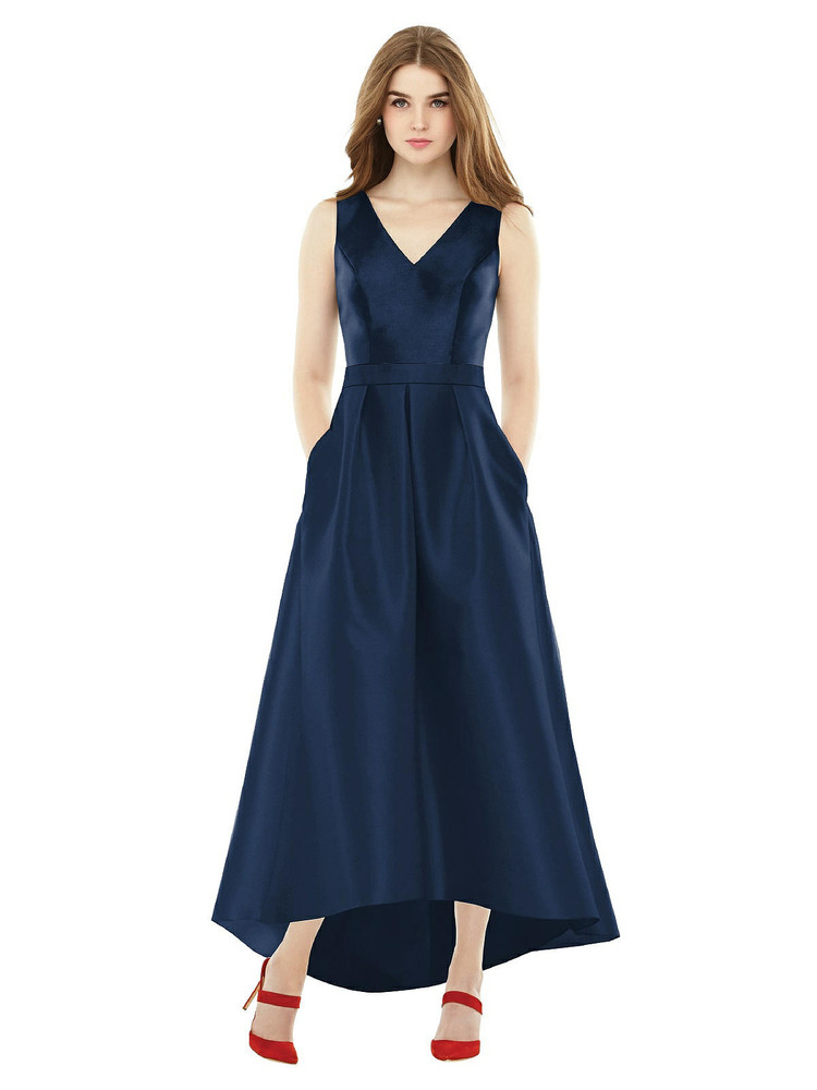 Sleeveless Pleated Skirt High Low Dress with Pockets D723 by Alfred Sung