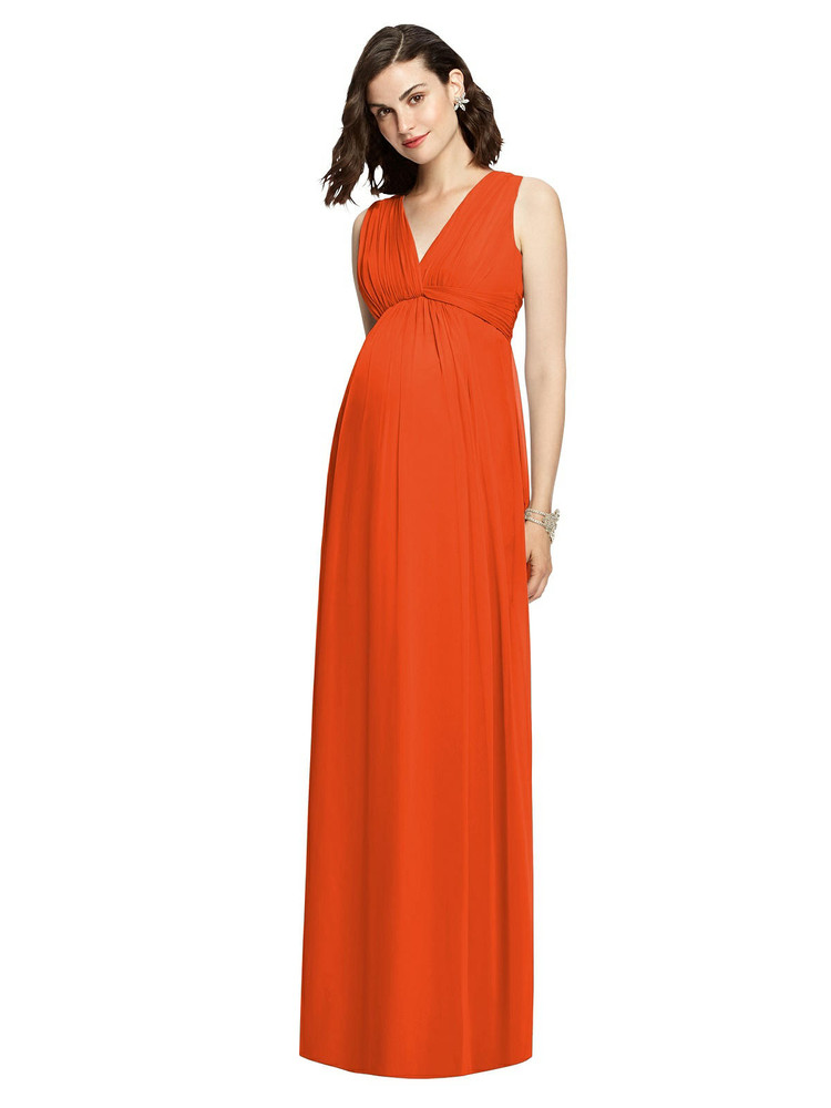 Sleeveless Shirred Skirt Maternity Bridesmaid Dress By Dessy M429 in 24 colors