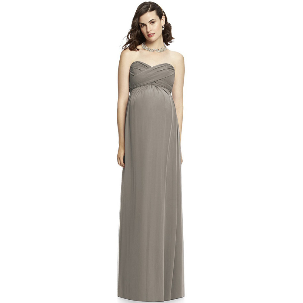 Mocha After Six Maternity Bridesmaids Dress M426