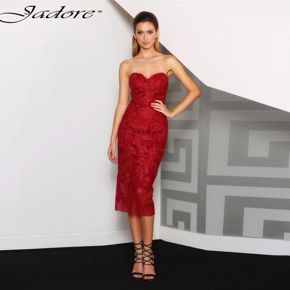 Jadore j8069 Joan Cocktail Dress in Gold, Red, Black