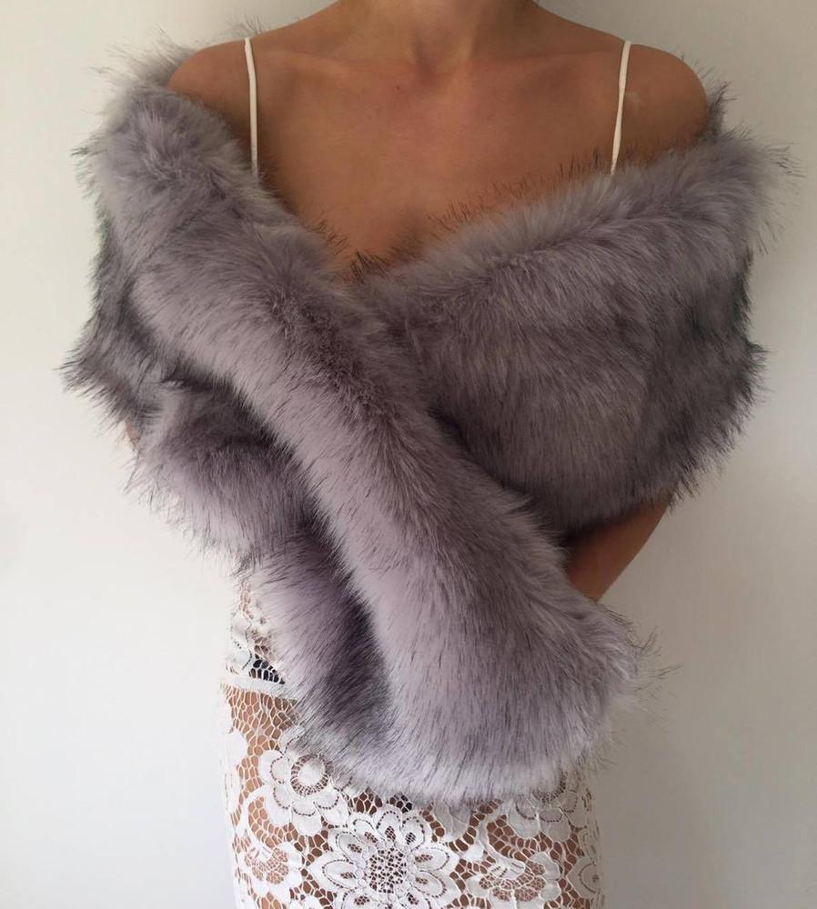 True Romance Fur Shawl Grey