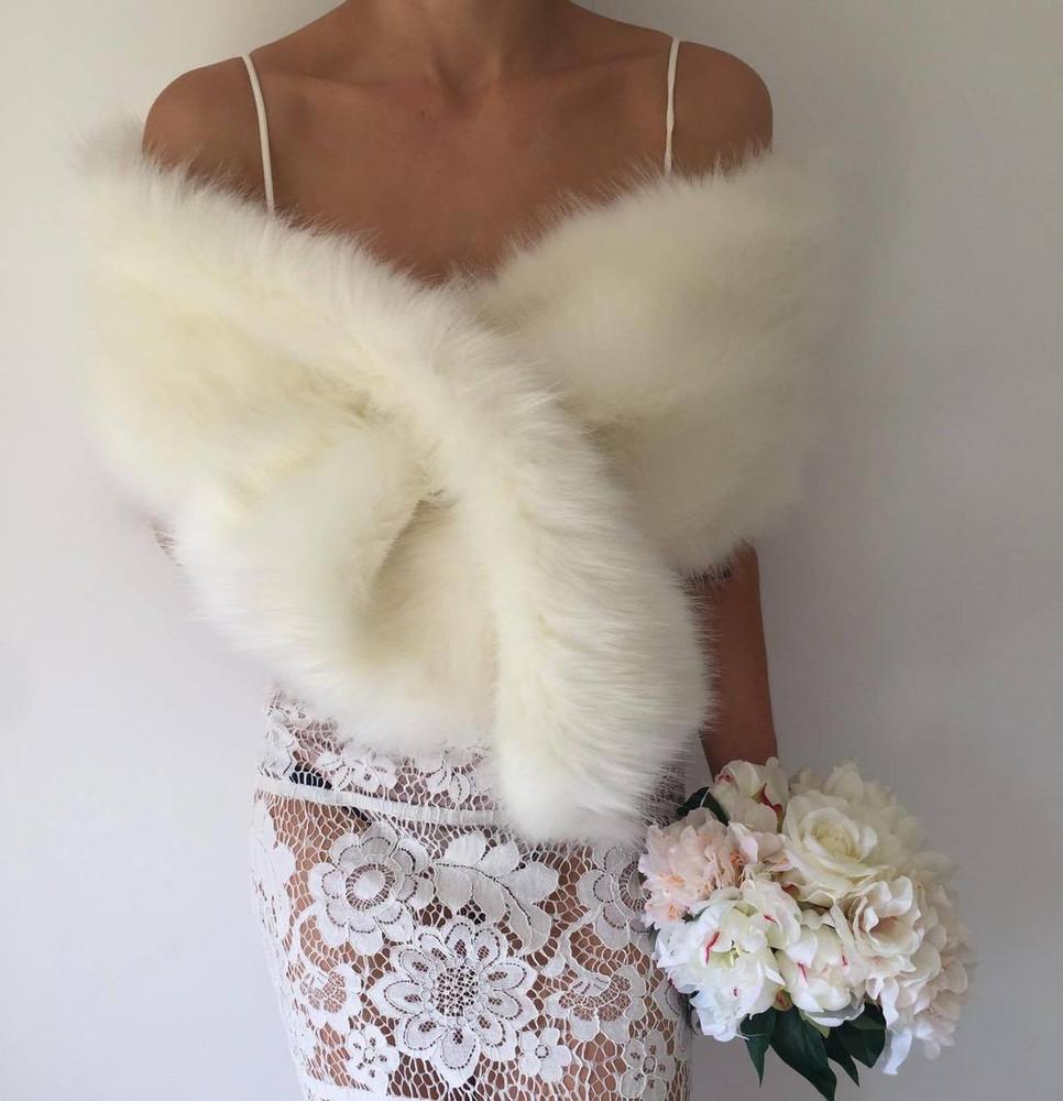 True Romance Fur Shawl  Ivory
