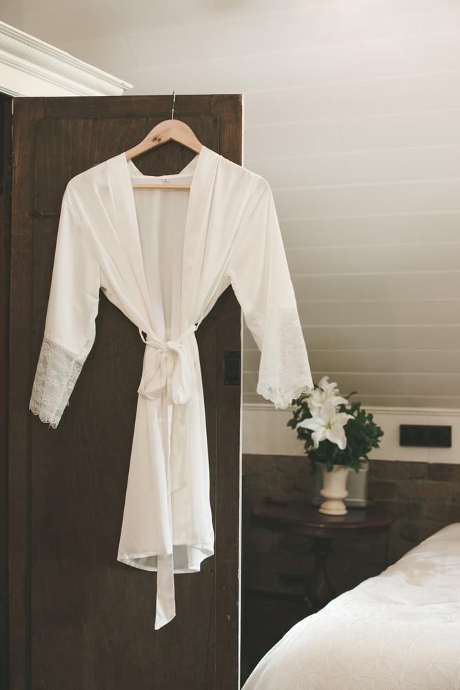 Bridal Satin Lace Robe WHITE
