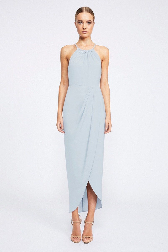 Shona Joy High Neck Ruched Dress - Powder Blue