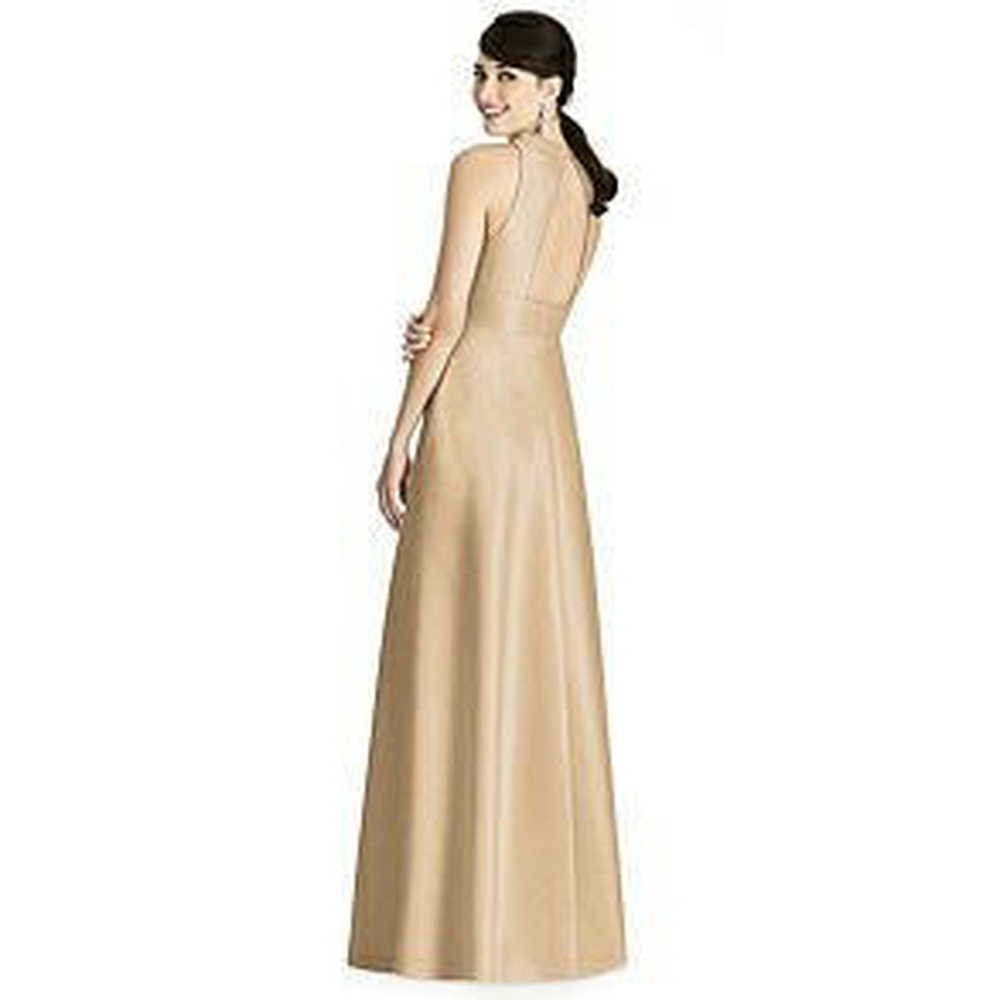 Sleeveless Open-Back Pleated Skirt Dress with Pockets By Alfred Sung Dress D747 in 33 colors