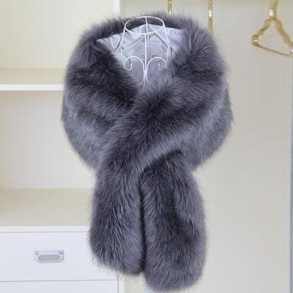 True Romance Fur Shawl Dark Grey
