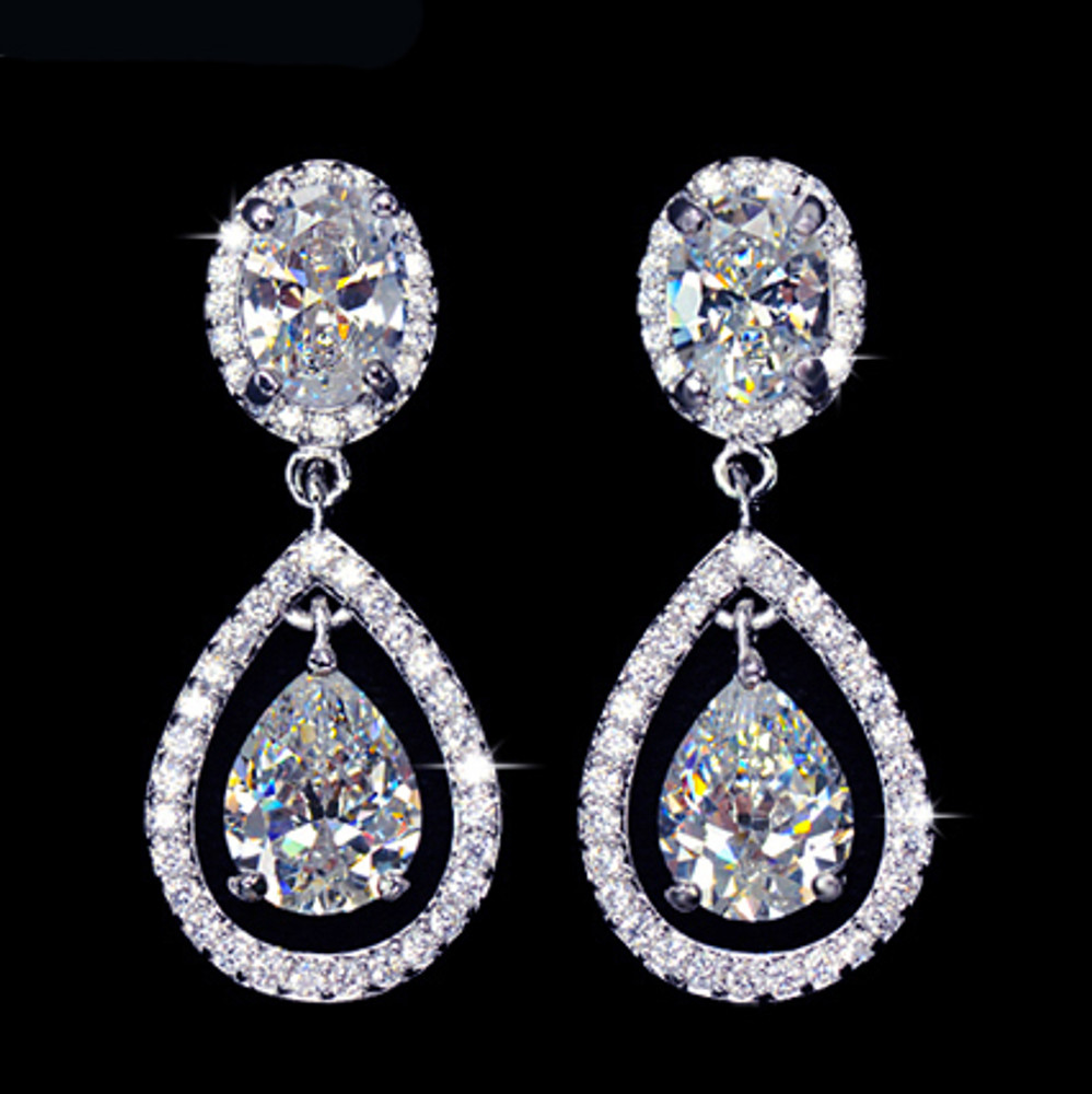 Halo Tear Drop Cubic Zirconia earrings