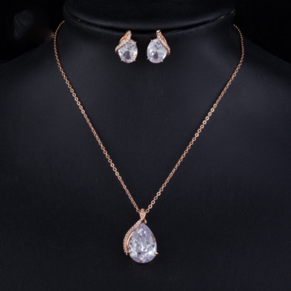 Rose Gold Water Droplet Necklace and Earring set