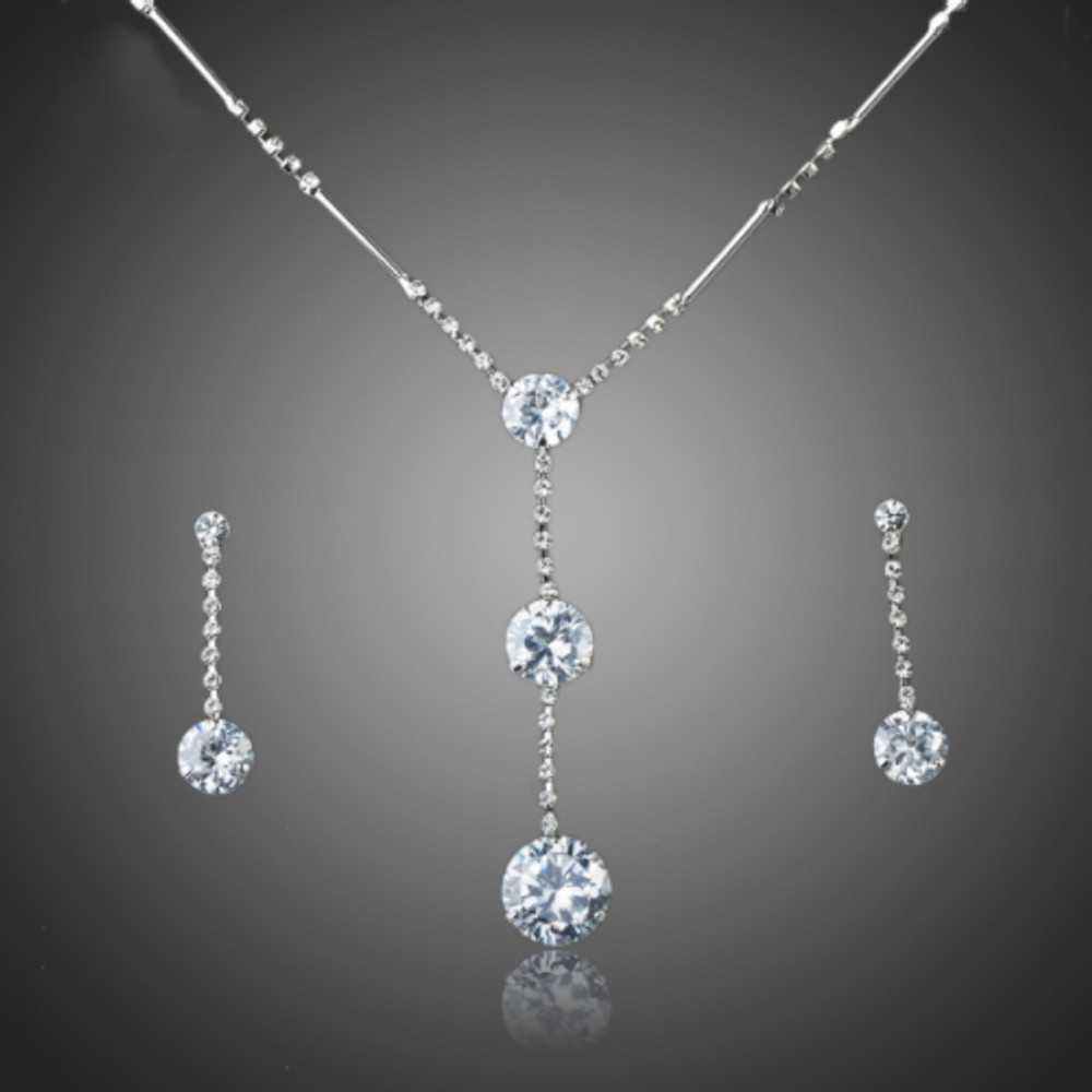 Linked Double Pendant Necklace and Earring set