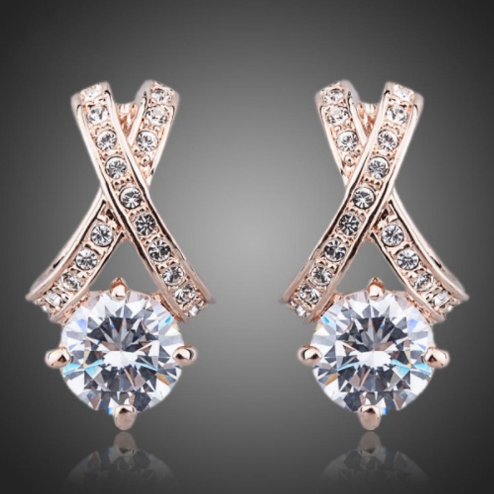 Rose Gold X Pendant Earrings