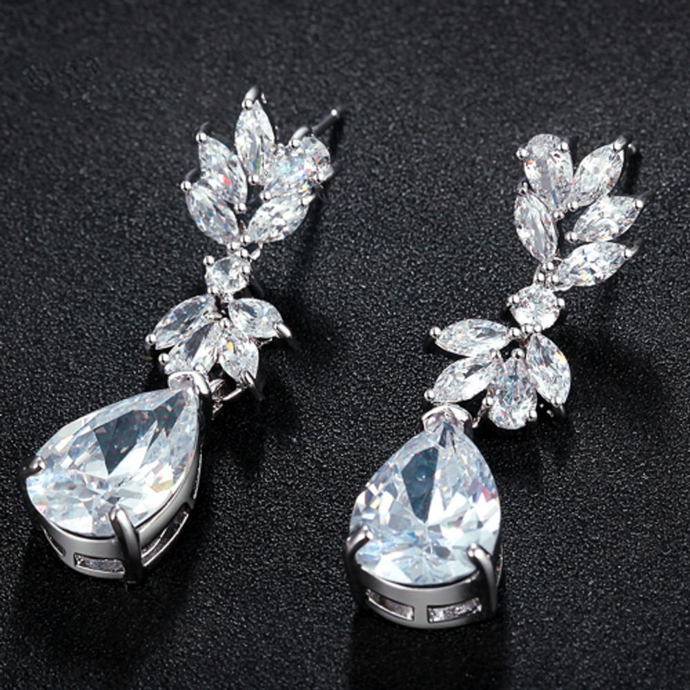 Floral Dew Teardrop Pendant earrings