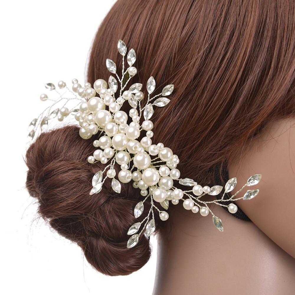 Bridal Floral Leaf Pearl Headpiece