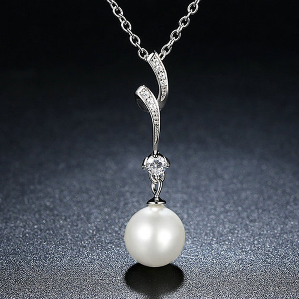 Spiral Pearl Necklace and Earring Set