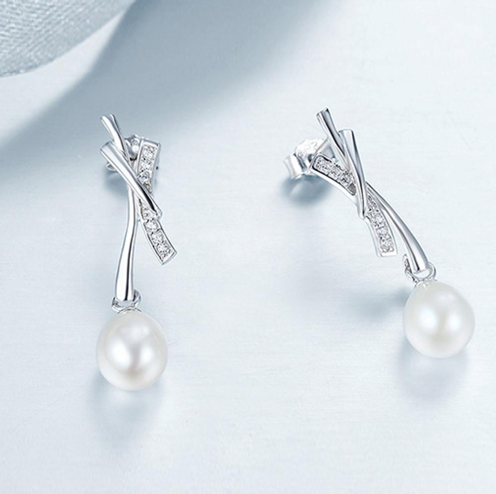 Bamboo Pearl Pendant Earrings
