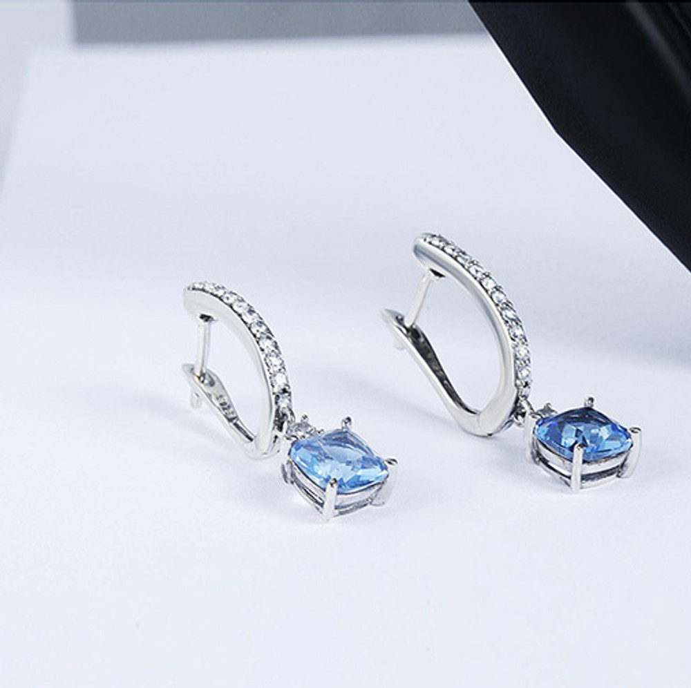 Square Zircon Hoop Earrings