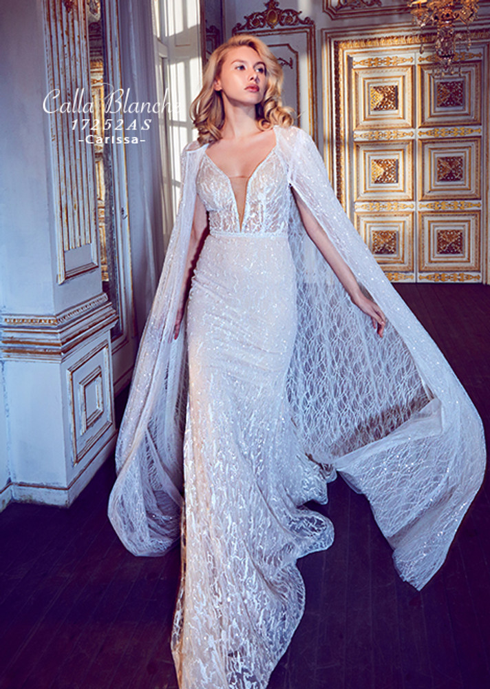 Carissa with cape rustic wedding dress